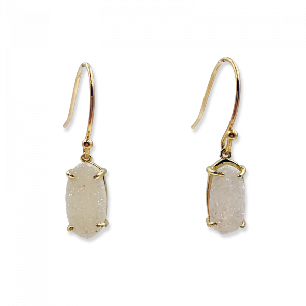 Petite Oval Snow White Drusy Earrings