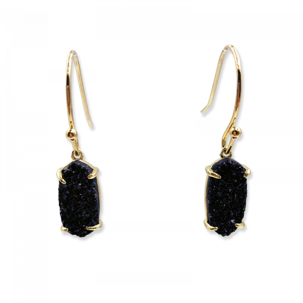 Petite Oval Midnight Drusy Earrings