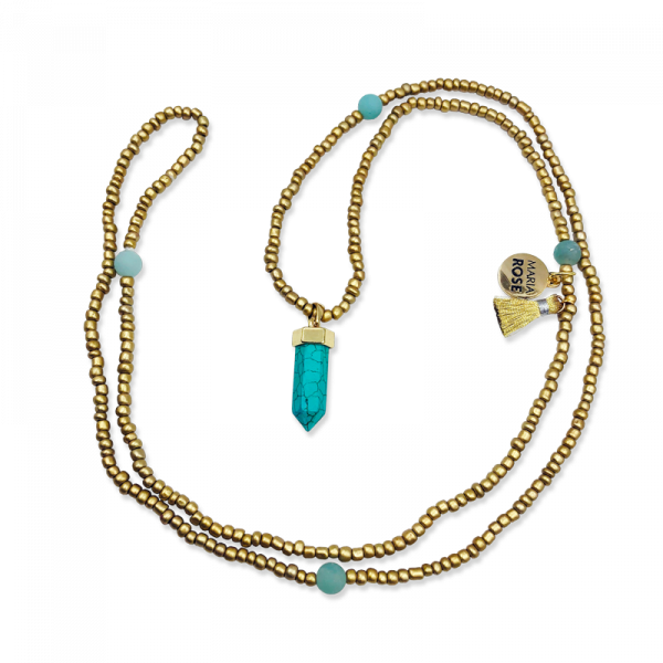 Turquoise Gold Pendant Necklace by Maria Rose