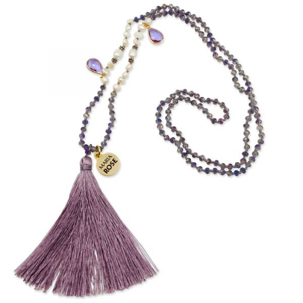 Purple Fresh Water Pearls Beaded Necklace by Maria Rose