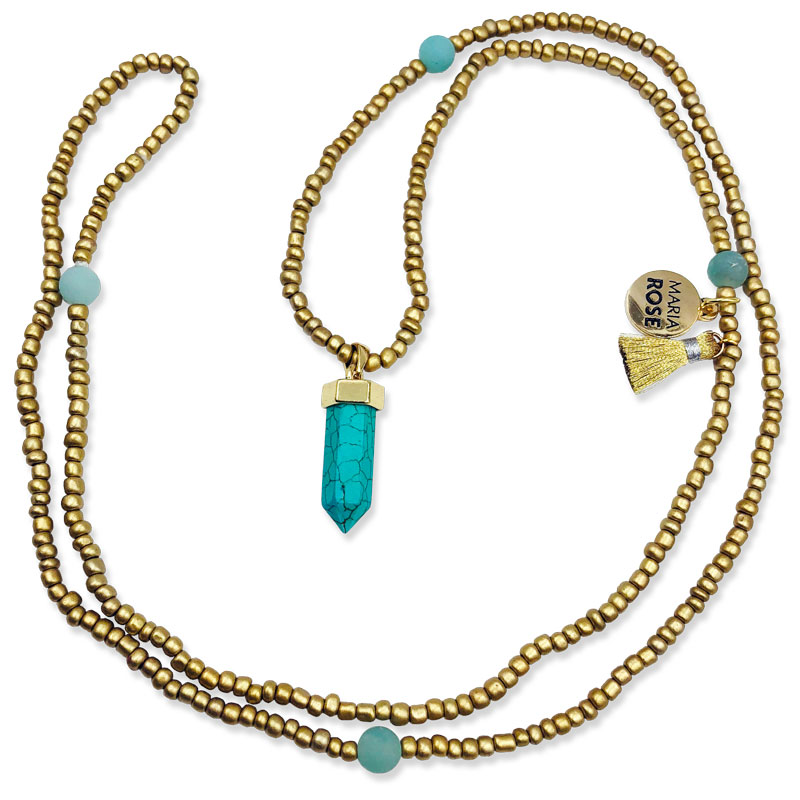 Turquoise Gold Pendant Necklace Designs By Maria Rose