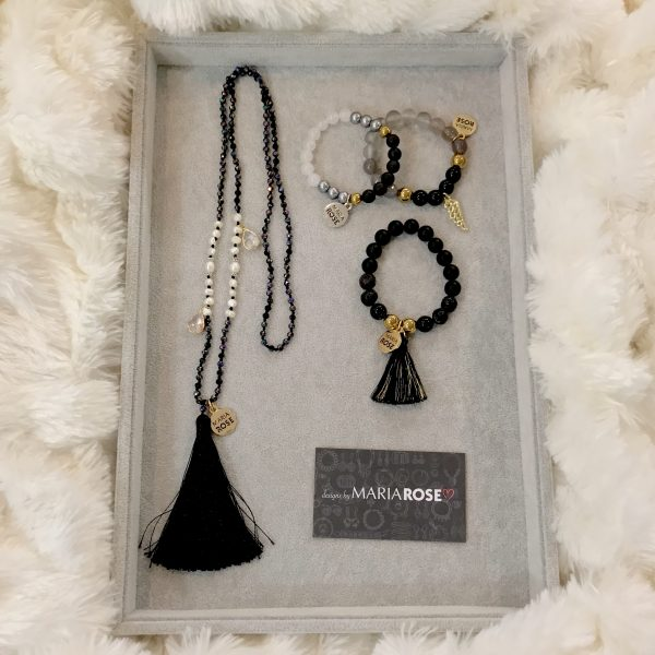 Gold & Black Crystal Beaded Necklace