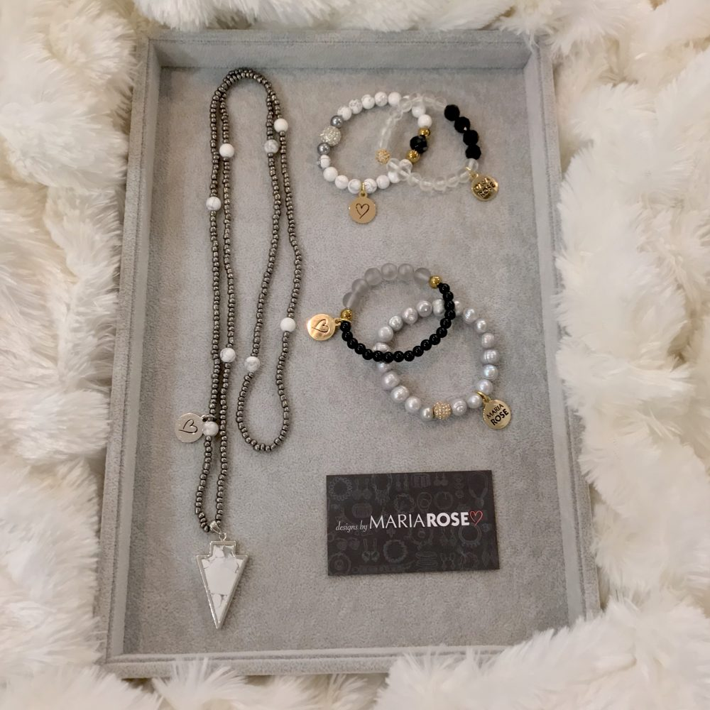 Silver and Black Jewelry Gift Set