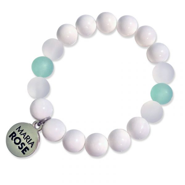 Maria Rose White and Beach Glass Bracelet