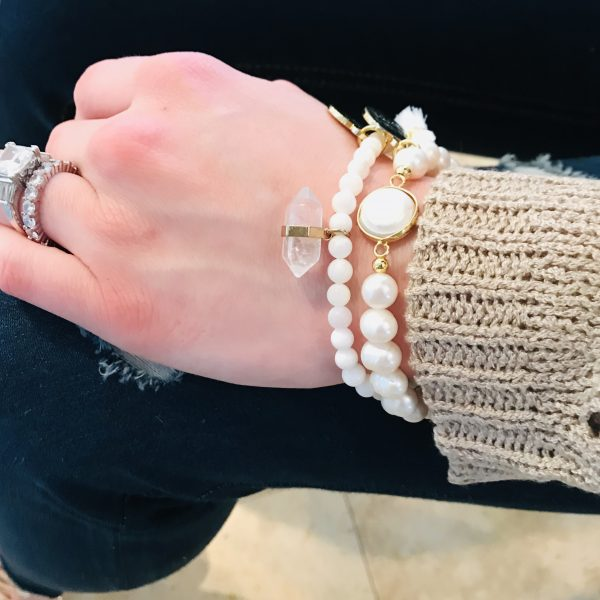 fresh water pearl charm bracelet with crystal beads featuring Maria Rose gold charm