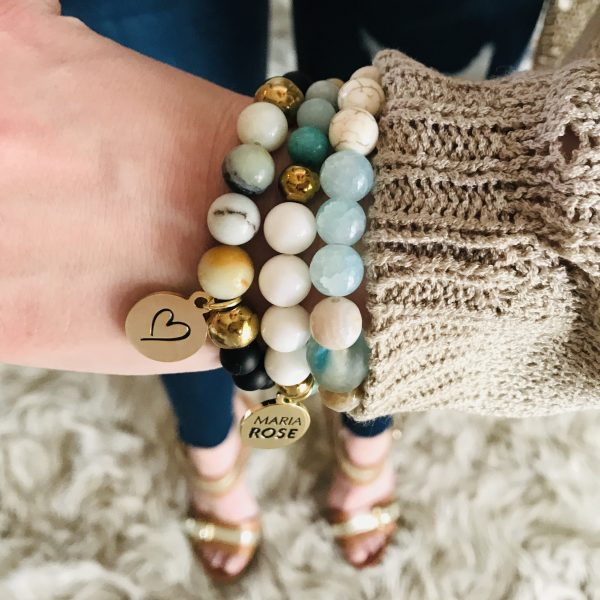 ammonite beaded bracelet stack with gold Maria Rose jewelry charm