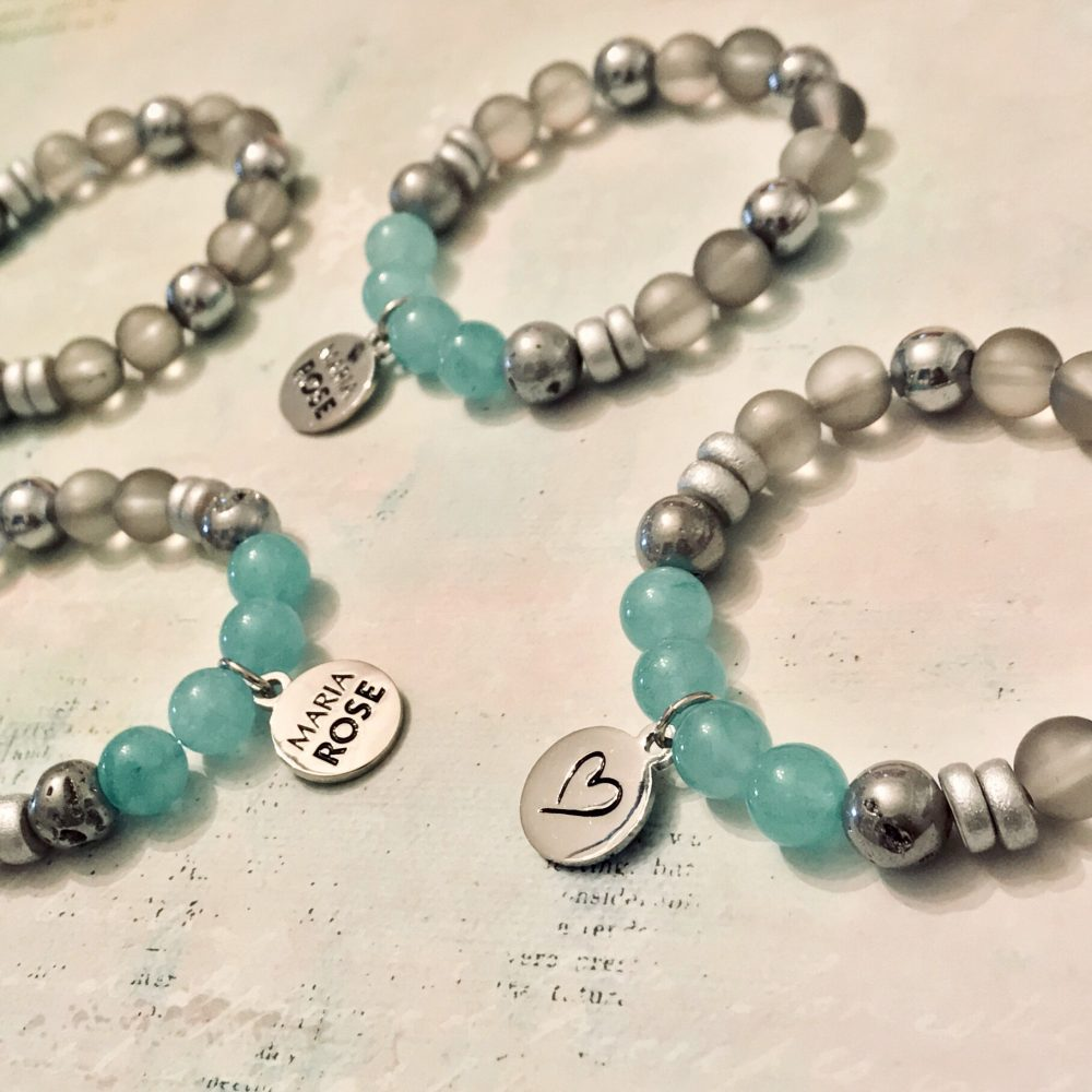 teal and silver bracelet set by Maria Rose