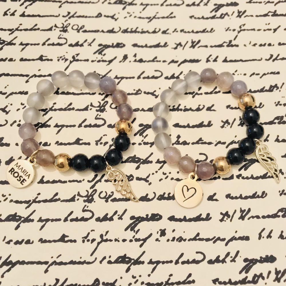 black and gold bracelets with Maria Rose gold charm