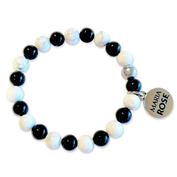 Onyx and White Beaded Bracelet Set