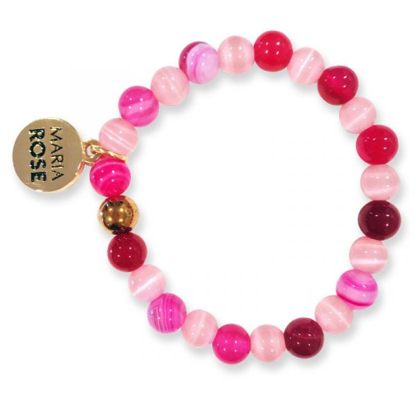 Pink and White Beaded Bracelet Set