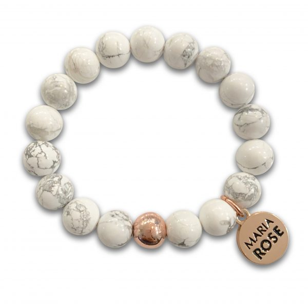Rose Gold Howlite Beaded Bracelet